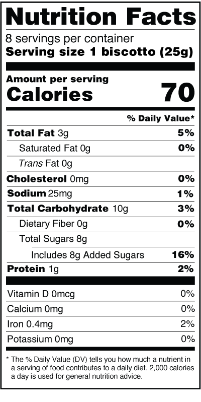 Monks' Dark Chocolate Chip Biscotti Nutrition Facts