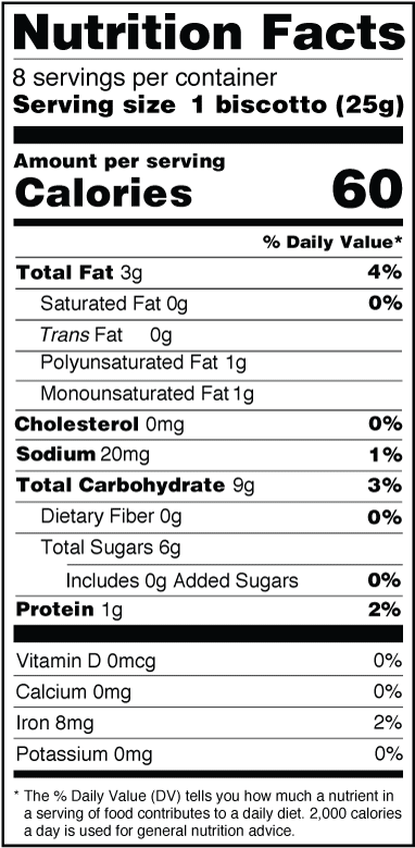 Monks' Maple Pecan Biscotti Nutrition Facts