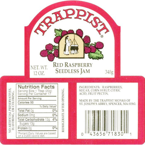 Trappist Red Raspberry Seedless Jam Nutrition Facts