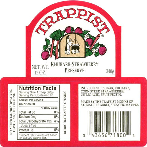 Trappist Rhubarb-Strawberry Preserves Nutrition Facts