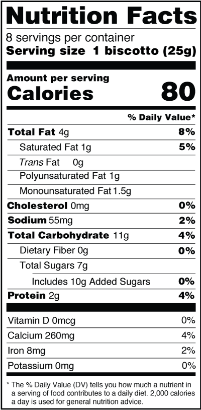 Monks' Sea Salt Caramel with Almonds Biscotti Nutrition Facts