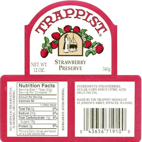 Trappist Strawberry Preserves Nutrition Facts