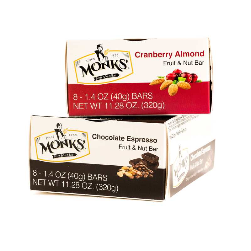 2 Boxes of Monks' Fruit and Nut Bars Bundle