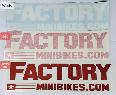 "Large 18"" Factory Minis Stickers - The Best Minimoto, Pitbike, Minibike Source - Factory Minibikes"