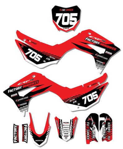 CRF110 Factory Minibikes Custom Graphics Kit w/ Name & Numbers - The Best Minimoto, Pitbike, Minibike Source - Factory Minibikes
