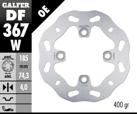 Galfer Rear Solid Mount Wave Rotor - Brake Disc - DF367W - 185mm - The Best Minimoto, Pitbike, Minibike Source - Factory Minibikes