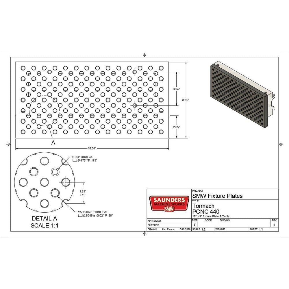 Tormach 440® Fixture Tooling Plate
