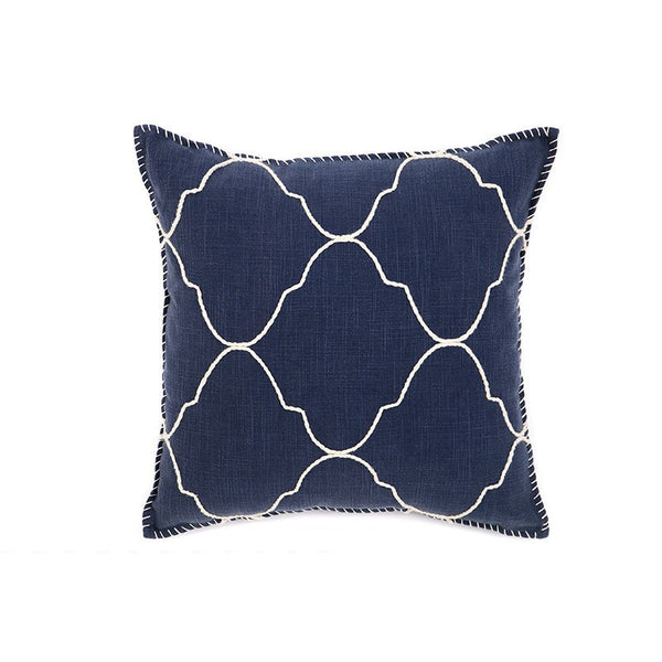 Blue Mosaic Blanket Stitch Cushion