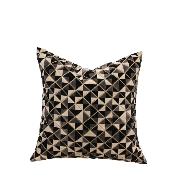 Geometric Velvet Cushion - Black and White