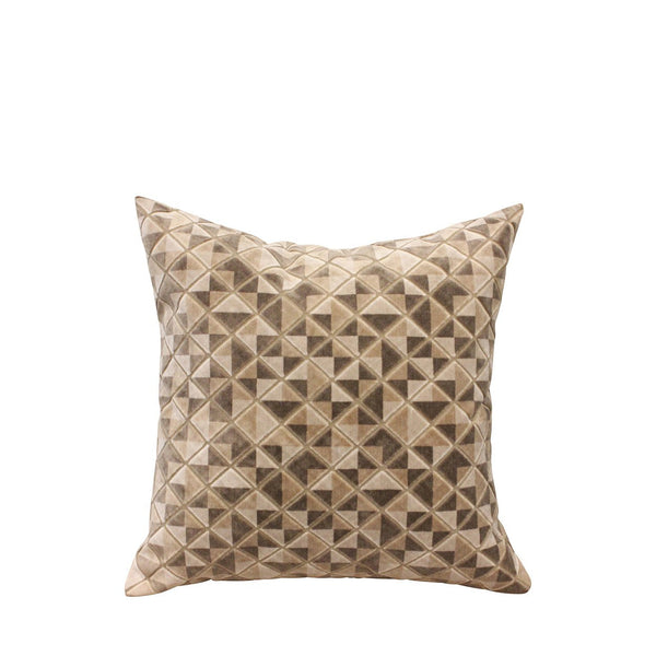 Geometric Velvet Cushion - Beige
