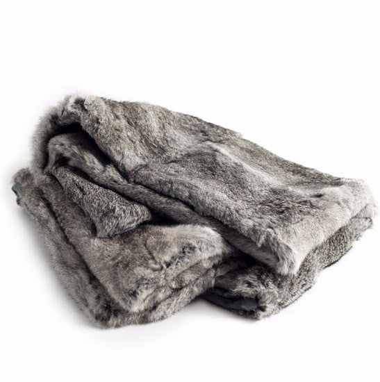 Grey Rabbit Fur Throw
