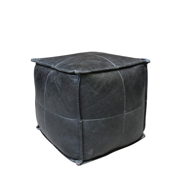 Black Leather Pouffe