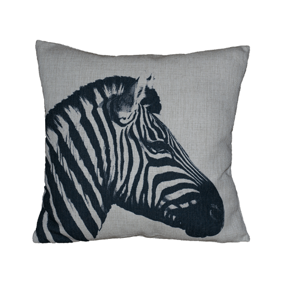 Black White Zebra Head Cushion