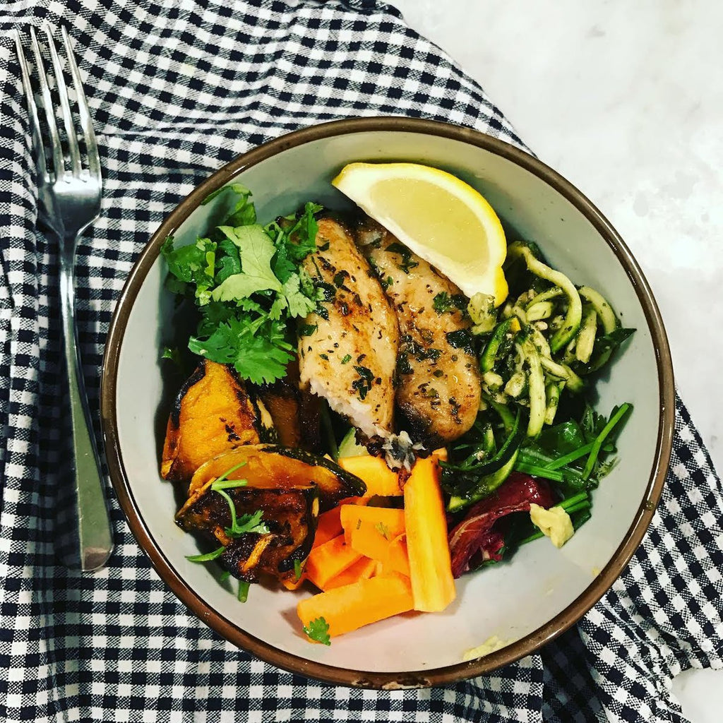 Herby Basa Fish and Pumpkin Salad