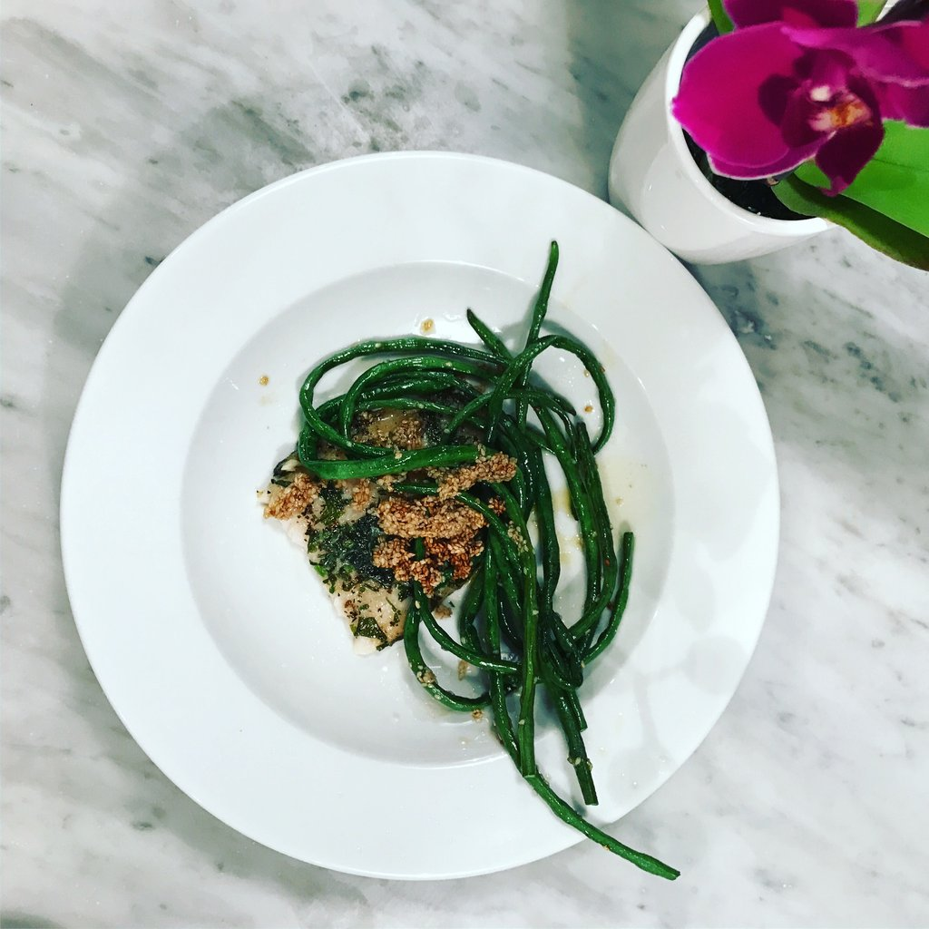 WHITE FISH AND SESAME SNAKE BEANS