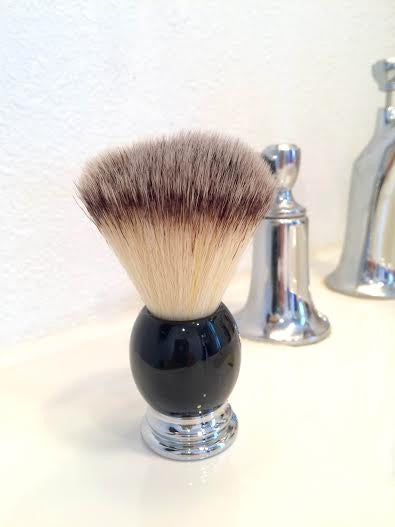 SHAVING BRUSH - BLACK + CHROME WITH STAND