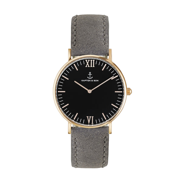 Black Grey Vintage Leather Campus by Kapten And Son Watches