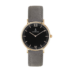Black Grey Vintage Leather Campus by Kapten And Son Watches | 101.Watch