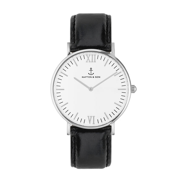 Silver Black Leather Campus by Kapten And Son Watches