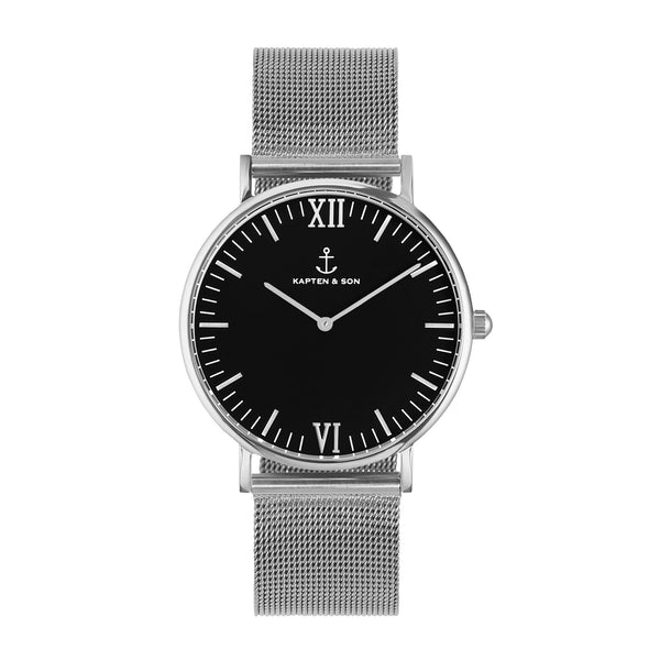 Silver Black Mesh Campus by Kapten And Son Watches