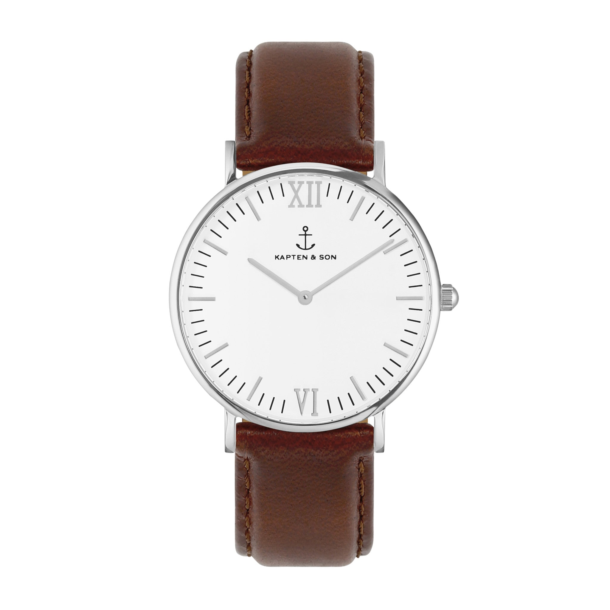 Silver Brown Leather Campus by Kapten And Son Watches
