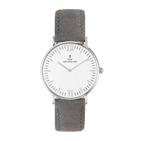 Silver Grey Vintage Leather Campus by Kapten And Son Watches