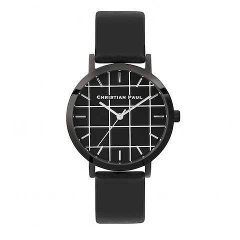 The Strand Grid 35mm by Christian Paul Watches | Black-on-black