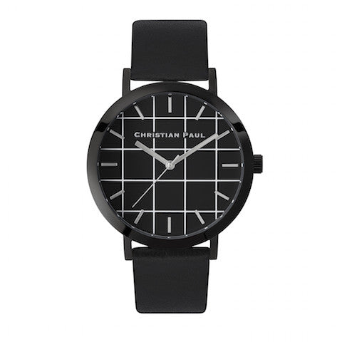 The Strand Grid 43mm by Christian Paul Watches | Black-on-black
