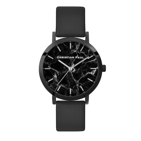 The Strand Marble 35mm by Christian Paul Watches | Black-on-black