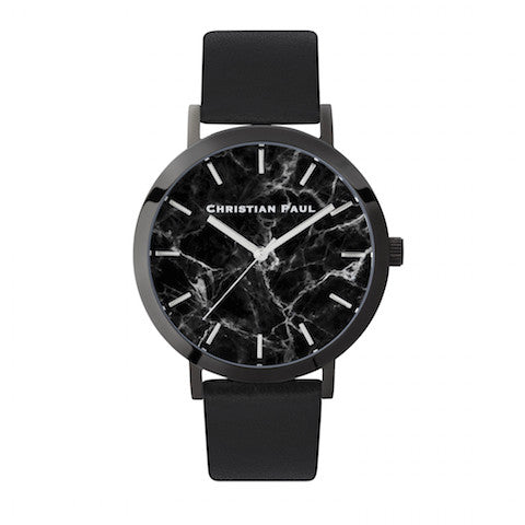 The Strand Marble 43mm by Christian Paul Watches | Black-on-black