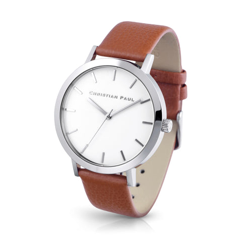 Raw 43mm Silver/Tan by Christian Paul Watches