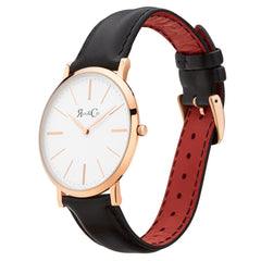 Rose And Coy Rose Gold/Black Leather Watch | 101.Watch