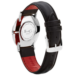 Rose And Coy Silver/Black Leather Watch | 101.Watch