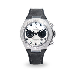 Strumento Marino Blue Ridge Silver/White & Grey Leather Strap Chrono Diver Watch | 101.Watch