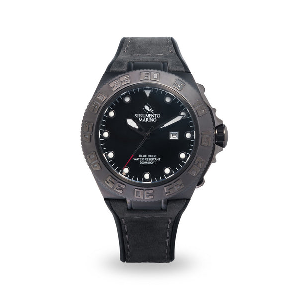 Strumento Marino Blue Ridge Gun Metal Black & Grey Leather Strap Diver Watch