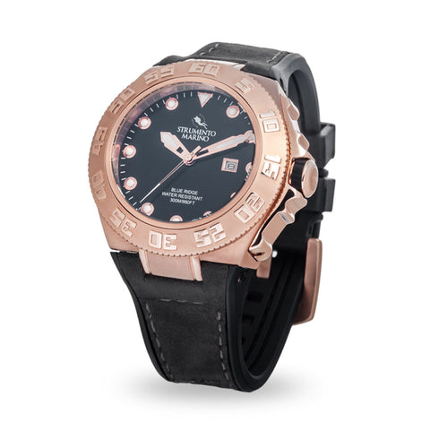 Strumento Marino Blue Ridge Rose Gold & Grey Leather Strap Diver Watch