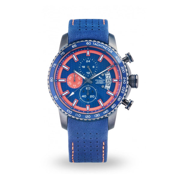 Strumento Marino Freedom Orange & Blue Leather Strap Chrono Diver Watch