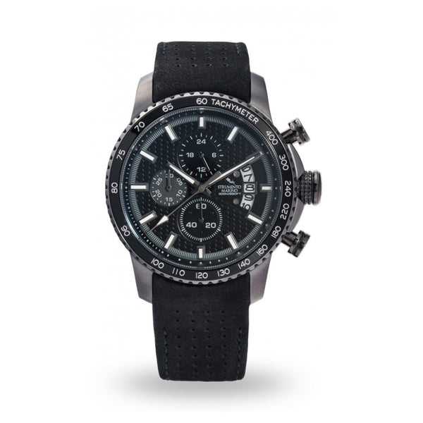 Strumento Marino Freedom Black Leather Strap Chrono Diver Watch