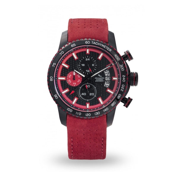 Strumento Marino Freedom Black & Red Leather Strap Chrono Diver Watch
