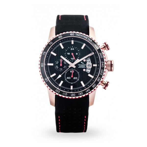 Strumento Marino Freedom Rose Gold & Black Leather Strap Chrono Diver Watch
