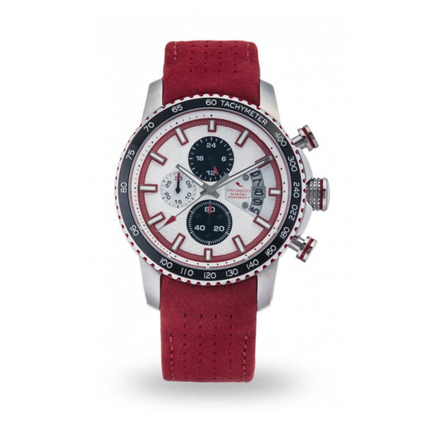 Strumento Marino Freedom White & Red Leather Strap Chrono Diver Watch