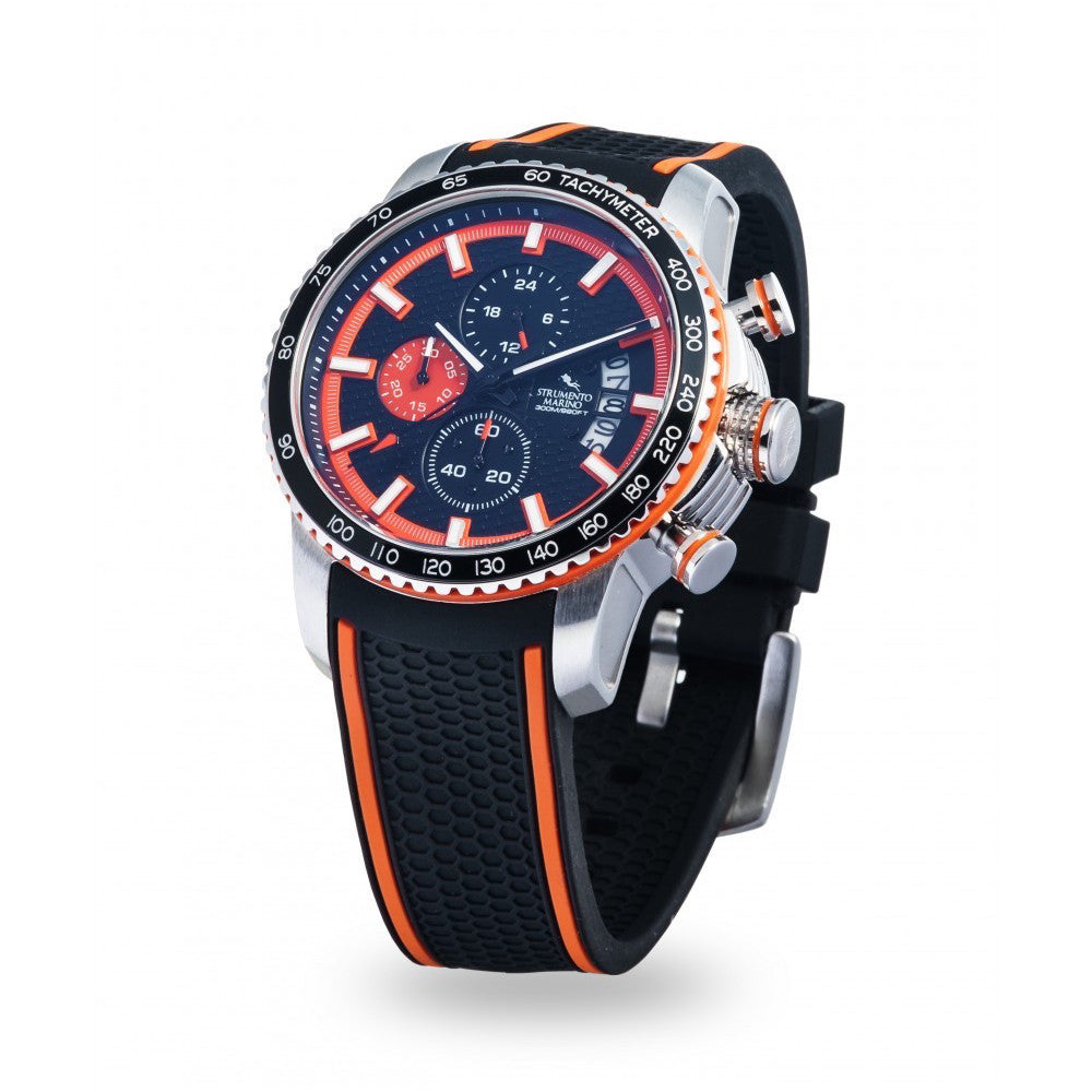 Strumento Marino Freedom Orange & Black Silicone Strap Chrono Diver Watch | 101.Watch