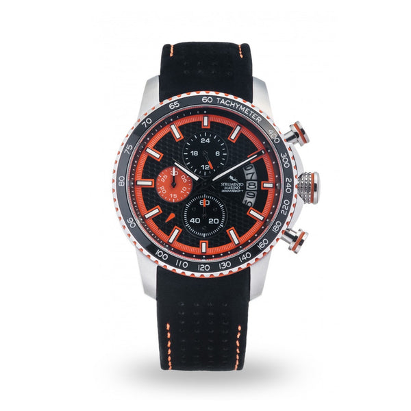 Strumento Marino Freedom Orange & Black Leather Strap Chrono Diver Watch