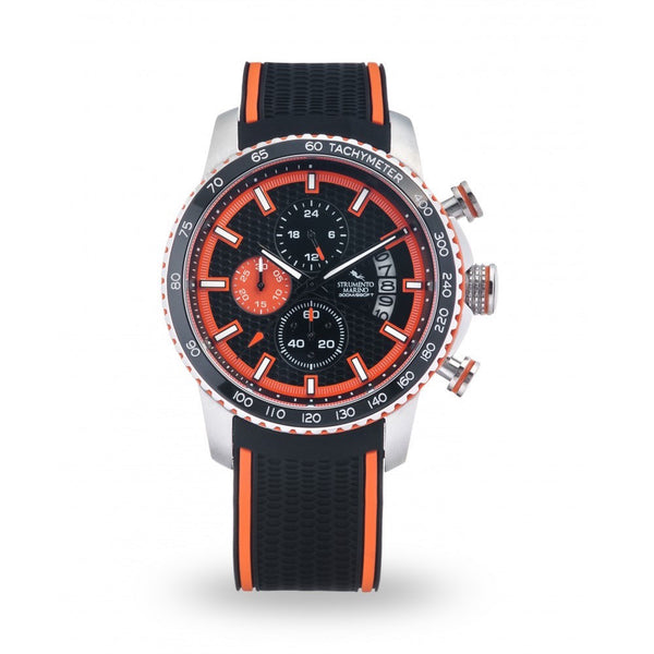 Strumento Marino Freedom Orange & Black Silicone Strap Chrono Diver Watch