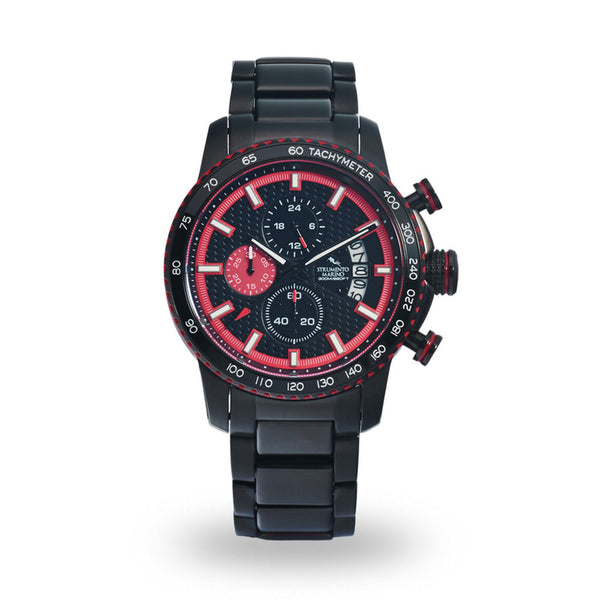 Strumento Marino Freedom Red & Black Metal Strap Chrono Diver Watch
