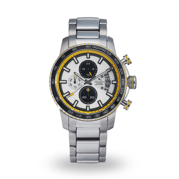 Strumento Marino Freedom Yellow & Black Metal Strap Chrono Diver Watch