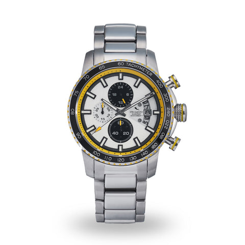 Strumento Marino Freedom Yellow & Black Metal Strap Chrono Diver Watch | 101.Watch