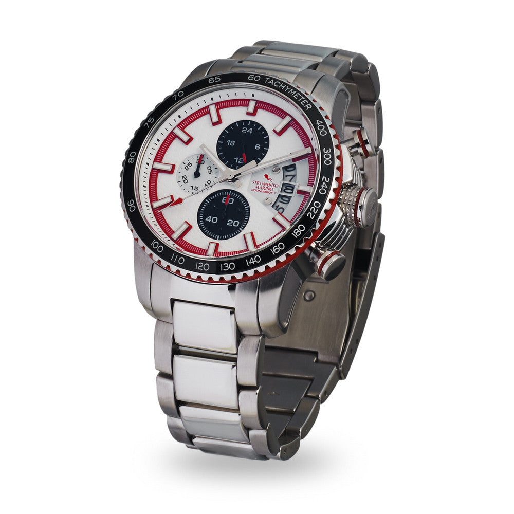 Strumento Marino Freedom Red & White Metal Strap Chrono Diver Watch | 101.Watch