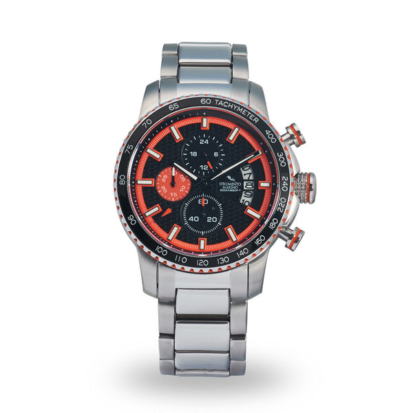 Strumento Marino Freedom Orange & Black Metal Strap Chrono Diver Watch