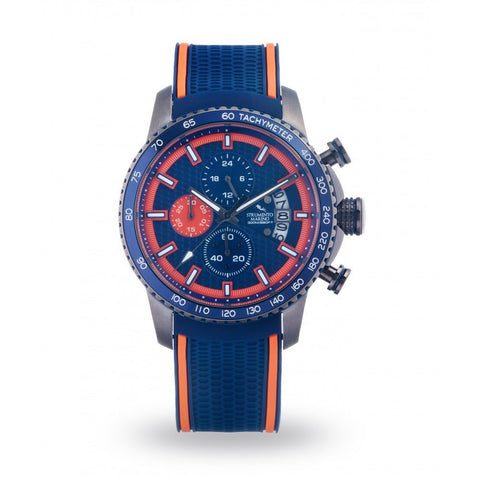 Strumento Marino Freedom Orange & Blue Silicone Strap Chrono Diver Watch | 101.Watch